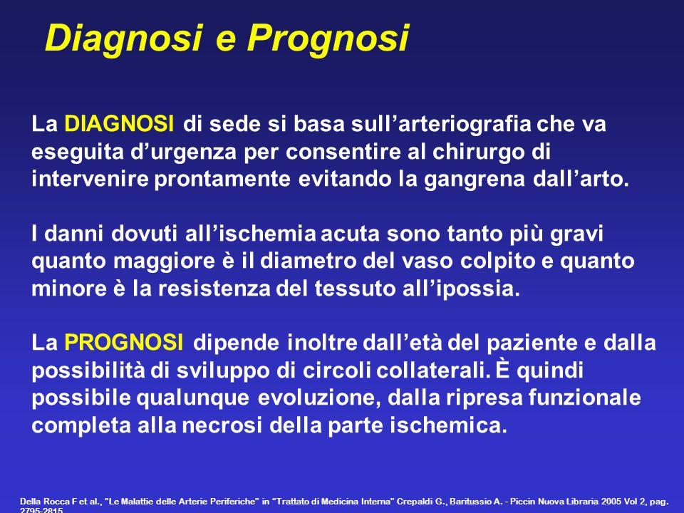 Diagnosi e Prognosi La DIAGNOSI di sede si basa sull'arteriografia che va. eseguita d'urgenza per consentire al chirurgo di.