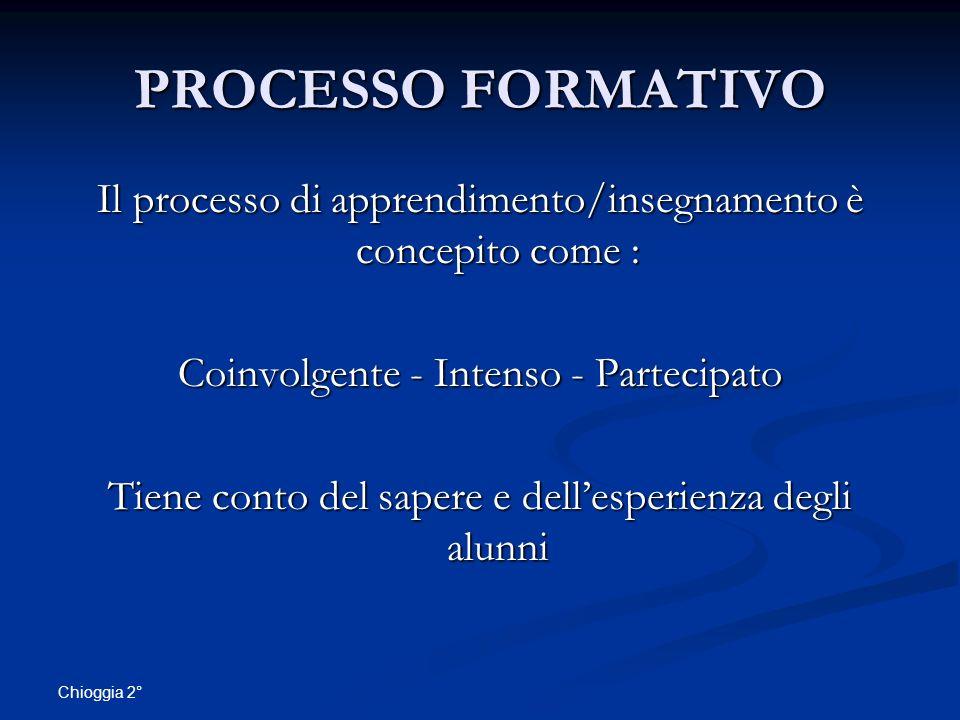 PROCESSO FORMATIVO Il processo di apprendimento/insegnamento è concepito come : Coinvolgente - Intenso - Partecipato.