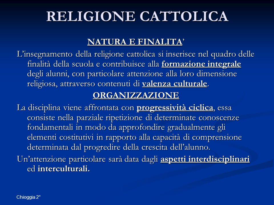 RELIGIONE CATTOLICA NATURA E FINALITA'