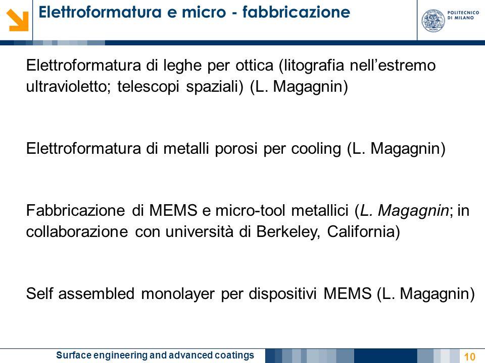 Elettroformatura e micro - fabbricazione