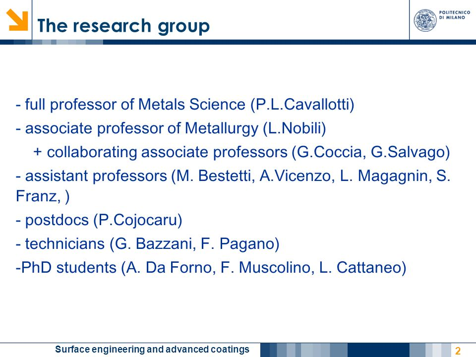The research group - full professor of Metals Science (P.L.Cavallotti)