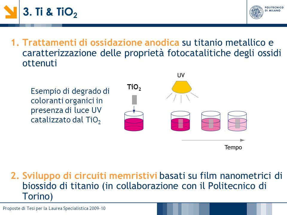 3. Ti & TiO2 Trattamenti di ossidazione anodica su titanio metallico e caratterizzazione delle proprietà fotocatalitiche degli ossidi ottenuti.