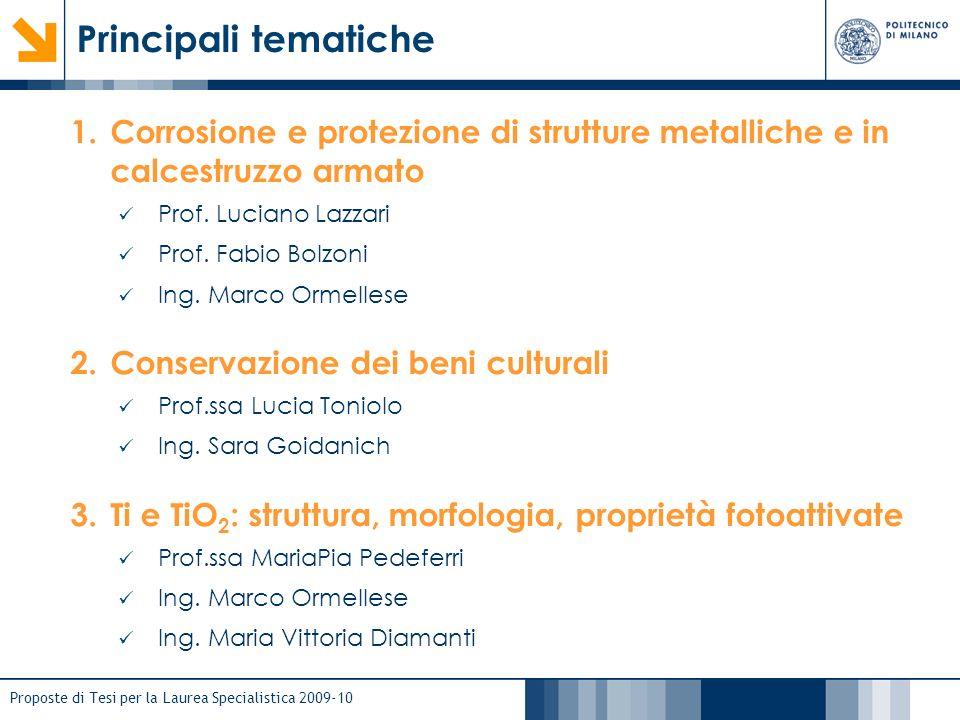 Principali tematiche Corrosione e protezione di strutture metalliche e in calcestruzzo armato. Prof. Luciano Lazzari.