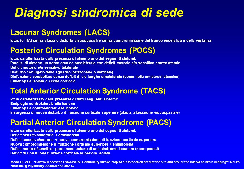 Diagnosi sindromica di sede