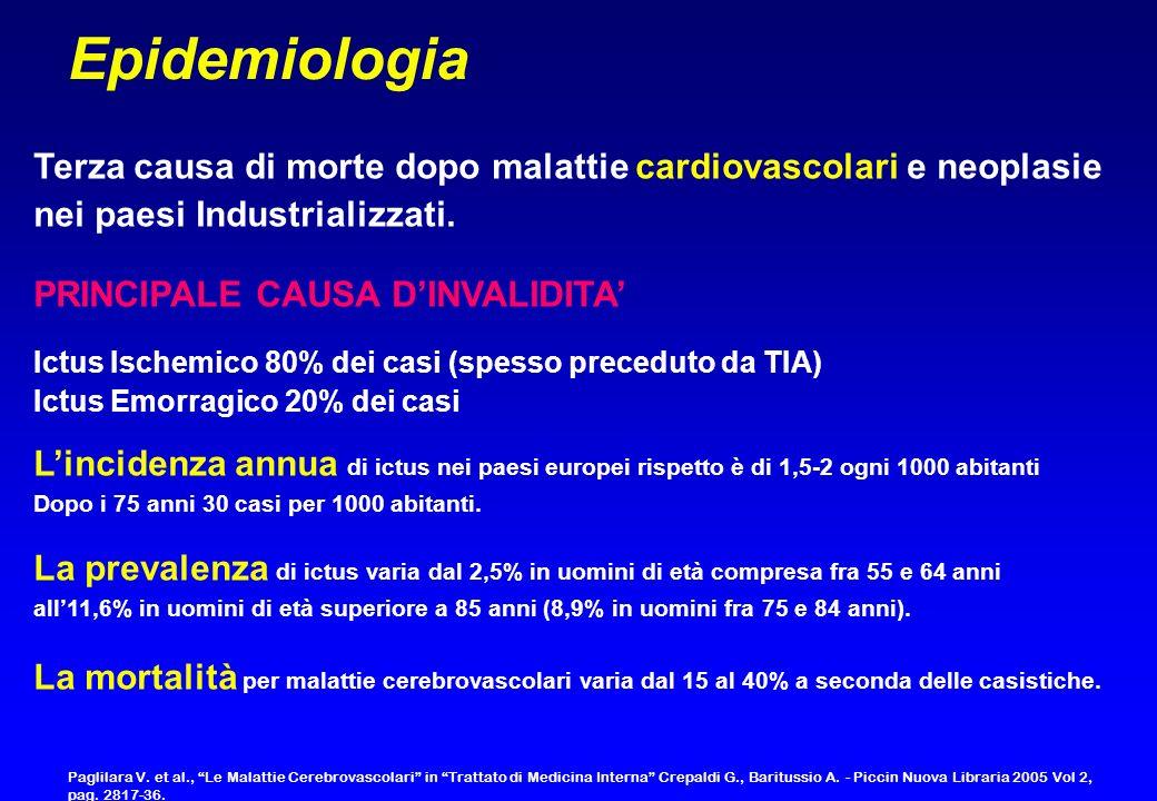 Epidemiologia Terza causa di morte dopo malattie cardiovascolari e neoplasie. nei paesi Industrializzati.