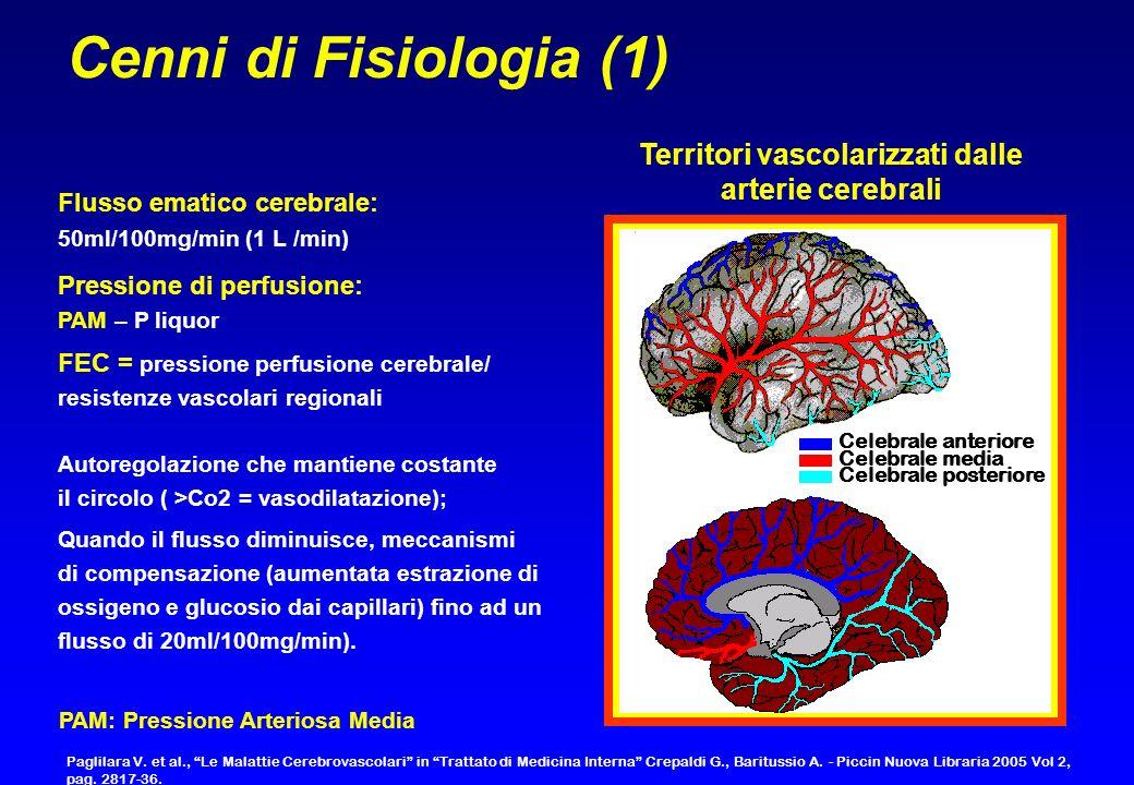 Cenni di Fisiologia (1) Territori vascolarizzati dalle arterie cerebrali. Flusso ematico cerebrale: