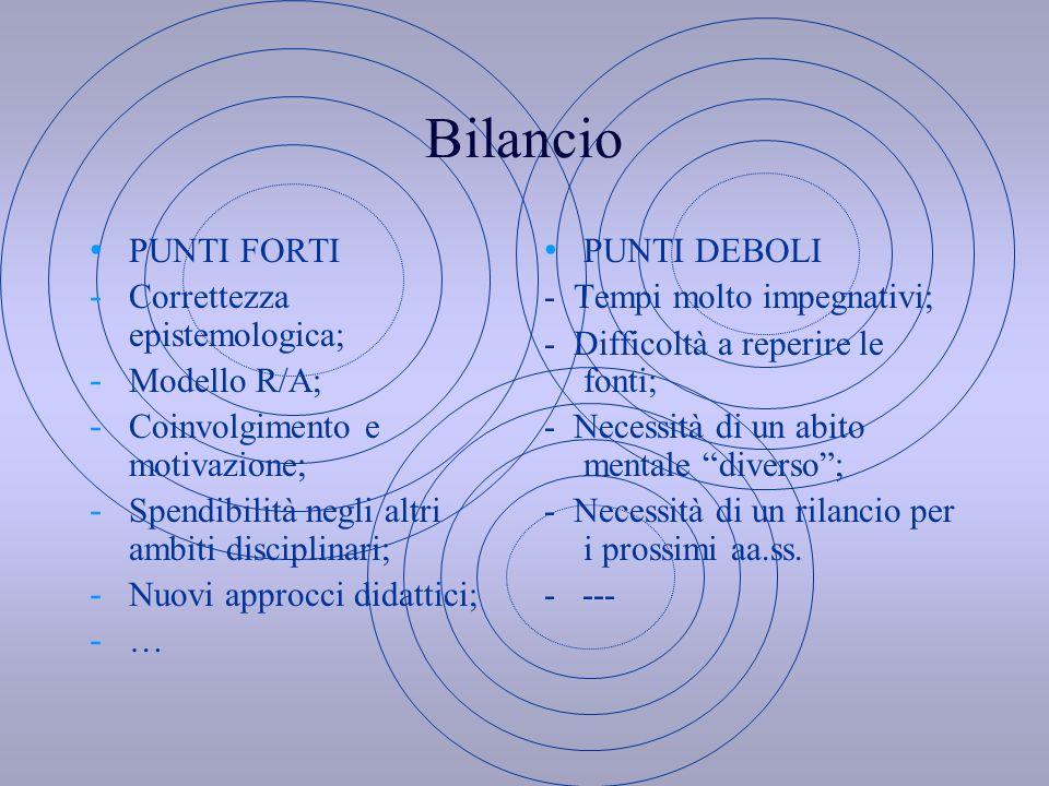 Bilancio PUNTI FORTI Correttezza epistemologica; Modello R/A;