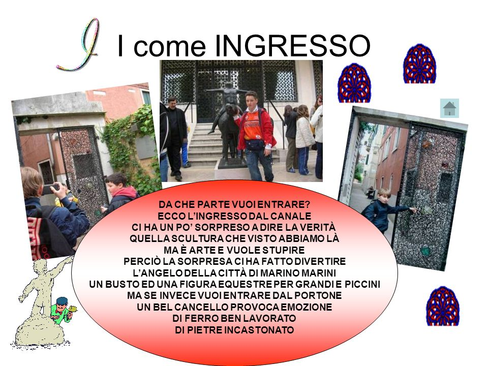 I come INGRESSO DA CHE PARTE VUOI ENTRARE ECCO L'INGRESSO DAL CANALE
