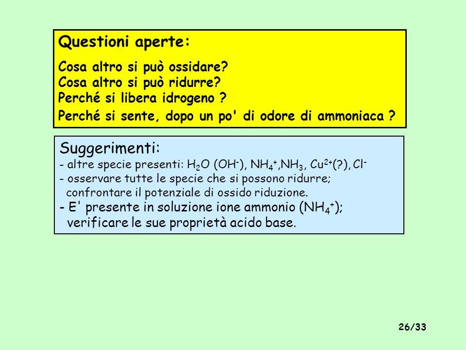Questioni aperte: Cosa altro si può ossidare Cosa altro si può ridurre Perché si libera idrogeno