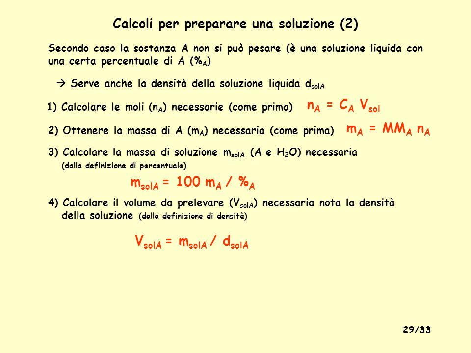 Calcoli per preparare una soluzione (2)