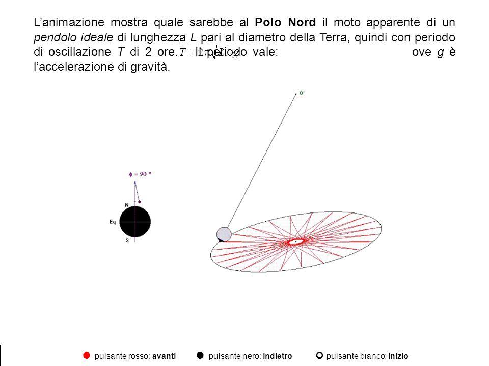 L'animazione mostra quale sarebbe al Polo Nord il moto apparente di un pendolo ideale di lunghezza L pari al diametro della Terra, quindi con periodo di oscillazione T di 2 ore. Il periodo vale: ove g è l'accelerazione di gravità.