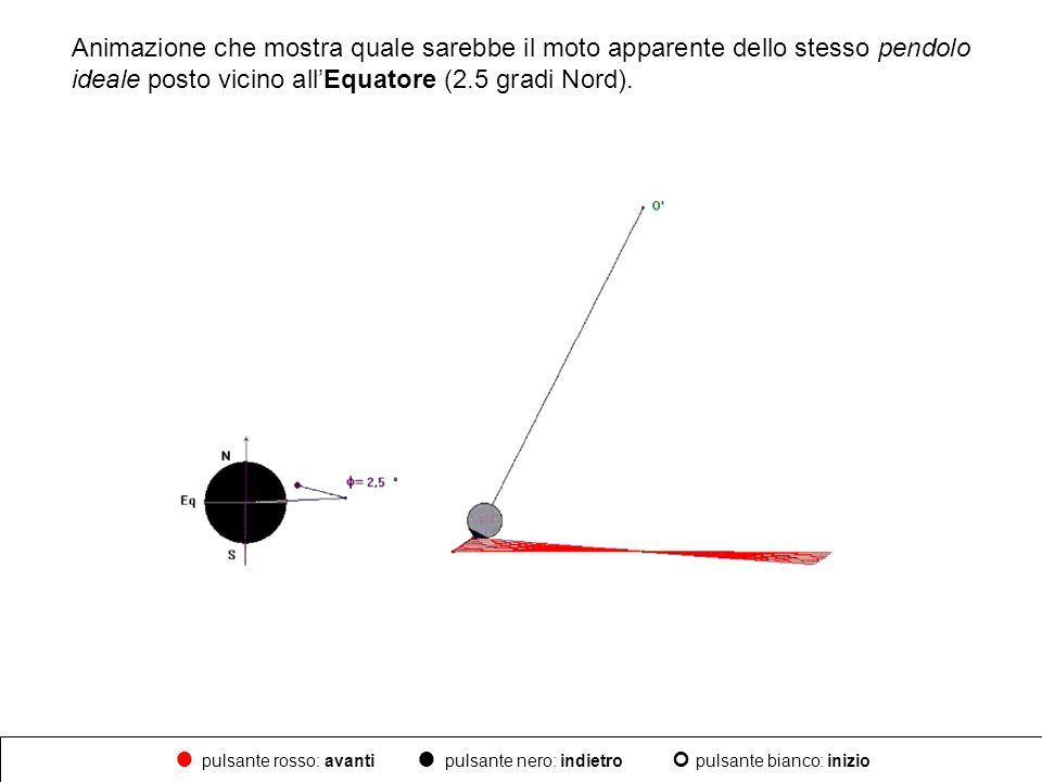 Animazione che mostra quale sarebbe il moto apparente dello stesso pendolo ideale posto vicino all'Equatore (2.5 gradi Nord).