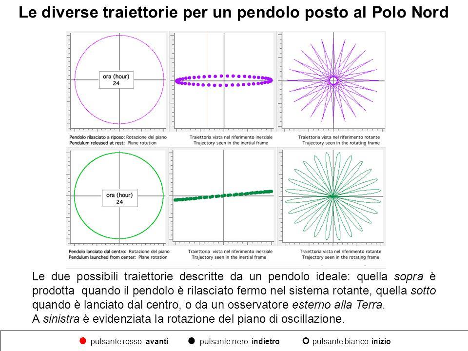 Le diverse traiettorie per un pendolo posto al Polo Nord