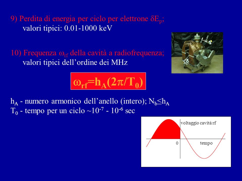 wrf=hA(2p/T0) 9) Perdita di energia per ciclo per elettrone dEp;