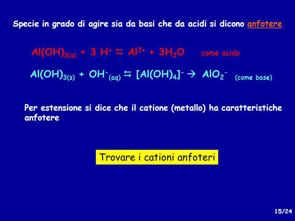 Al(OH)3(s) + 3 H+  Al3+ + 3H2O come acido