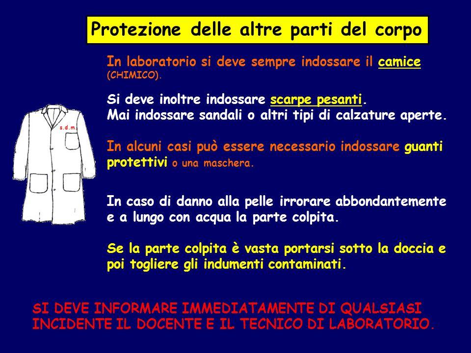 Protezione delle altre parti del corpo