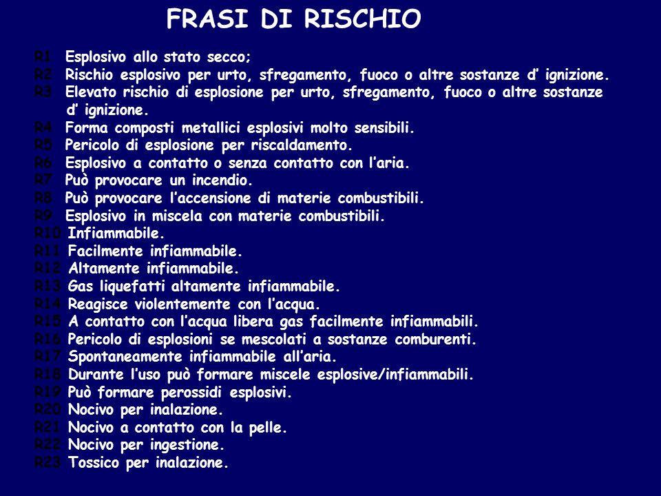 FRASI DI RISCHIO R1 Esplosivo allo stato secco;