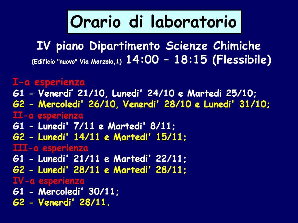 Orario di laboratorio IV piano Dipartimento Scienze Chimiche (Edificio nuovo Via Marzolo,1) 14:00 – 18:15 (Flessibile)