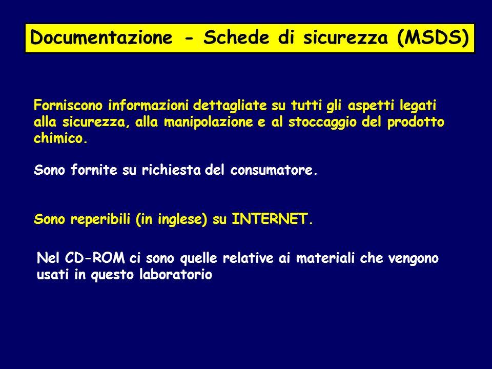 Documentazione - Schede di sicurezza (MSDS)
