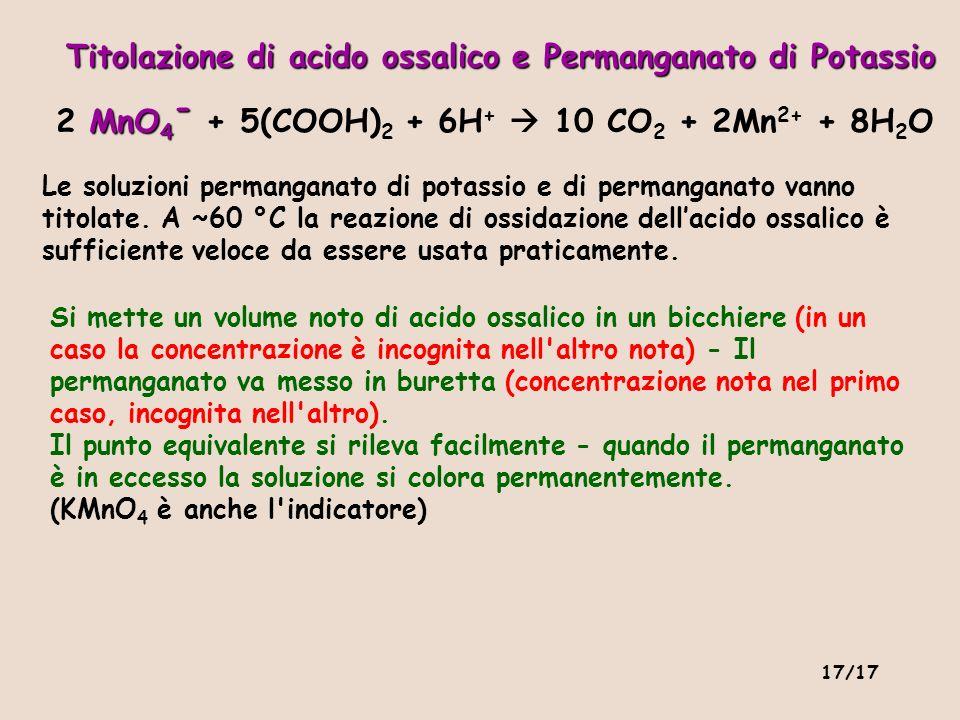 Titolazione di acido ossalico e Permanganato di Potassio