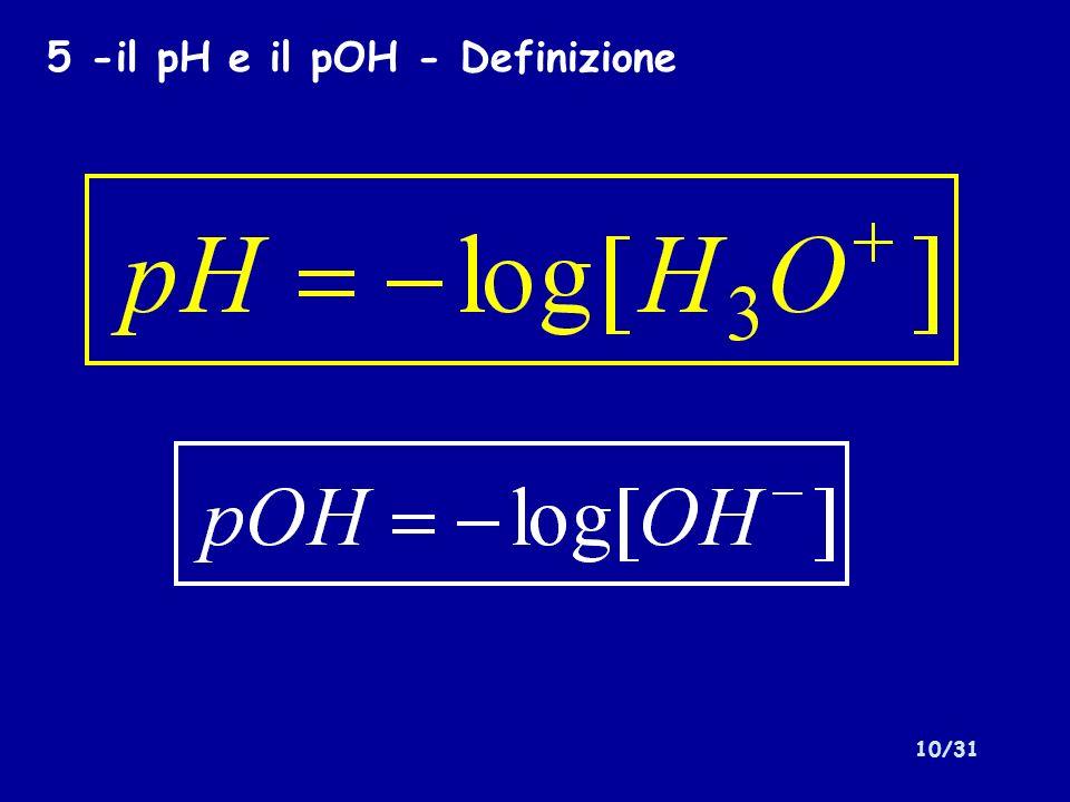 5 -il pH e il pOH - Definizione