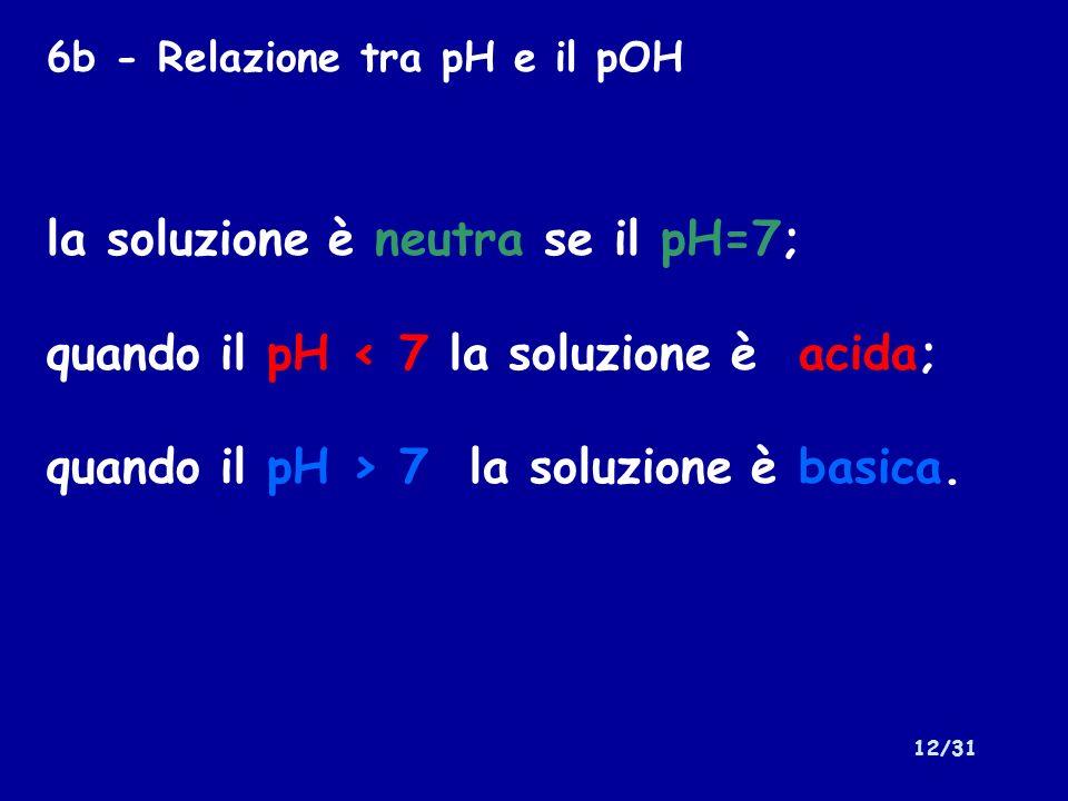 la soluzione è neutra se il pH=7;