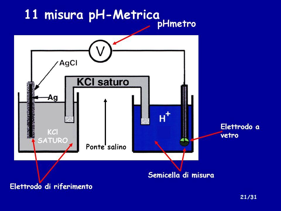 11 misura pH-Metrica pHmetro Elettrodo a vetro Ponte salino