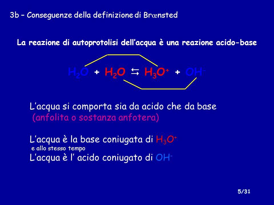 La reazione di autoprotolisi dell'acqua è una reazione acido-base