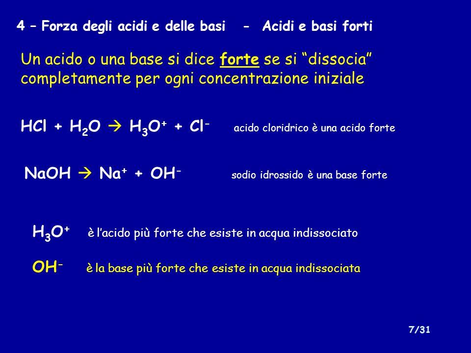 HCl + H2O  H3O+ + Cl- acido cloridrico è una acido forte