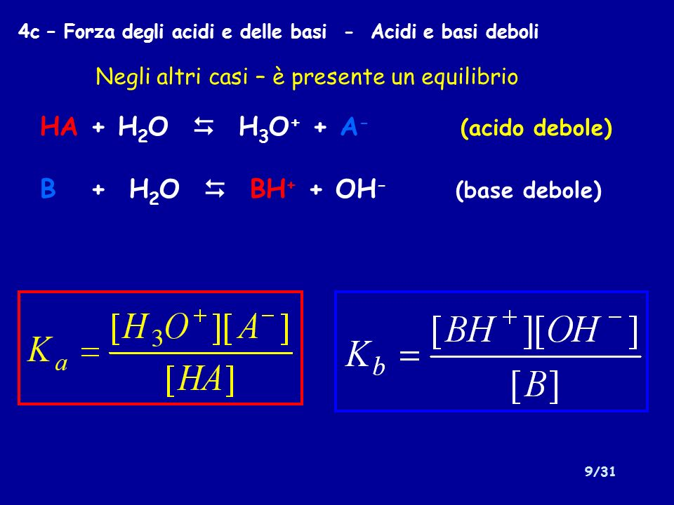 HA + H2O  H3O+ + A- (acido debole) B + H2O  BH+ + OH- (base debole)