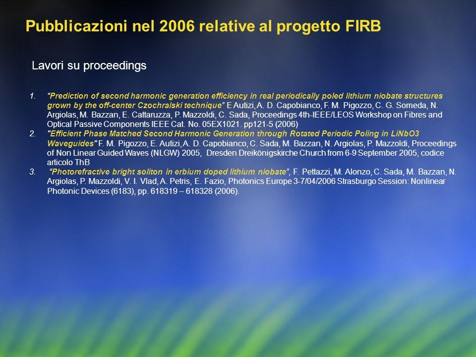 Pubblicazioni nel 2006 relative al progetto FIRB