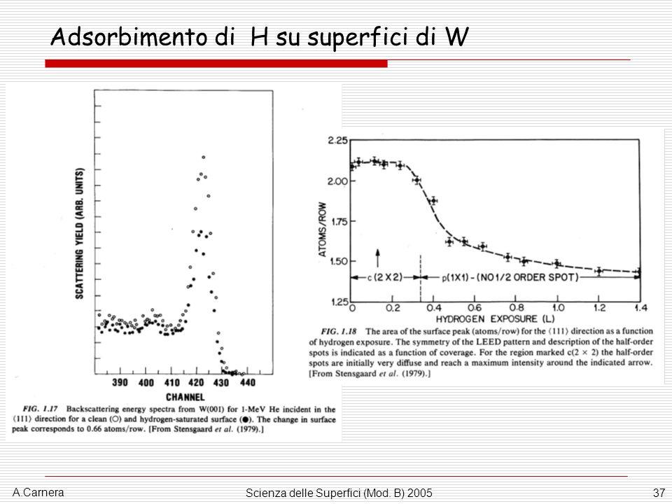 Adsorbimento di H su superfici di W