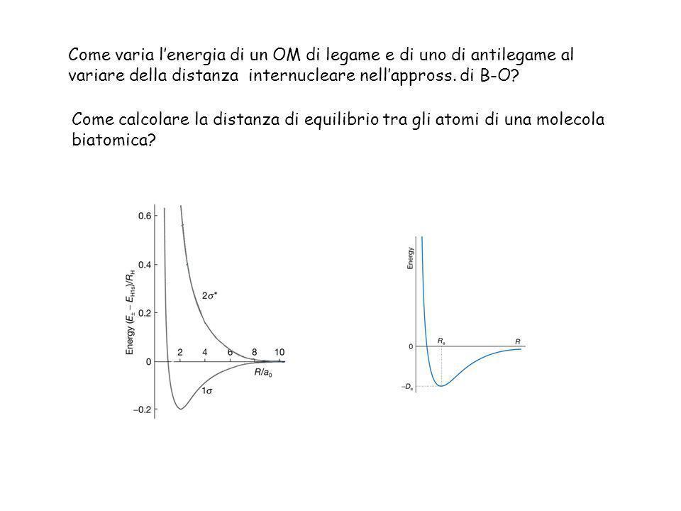 Come varia l'energia di un OM di legame e di uno di antilegame al variare della distanza internucleare nell'appross. di B-O