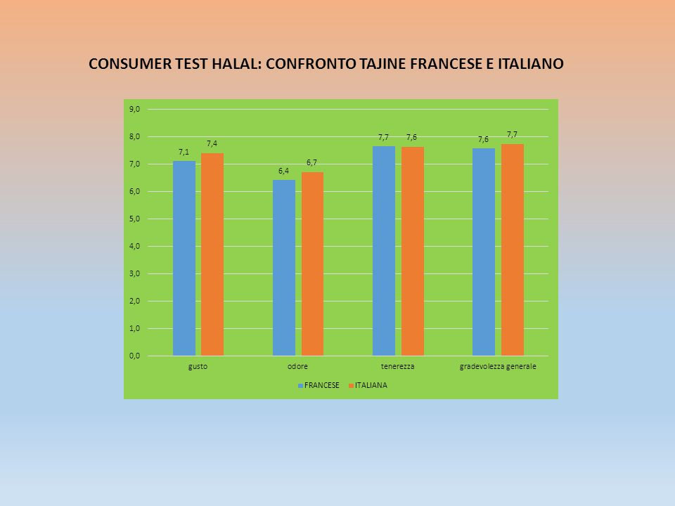 CONSUMER TEST HALAL: CONFRONTO TAJINE FRANCESE E ITALIANO