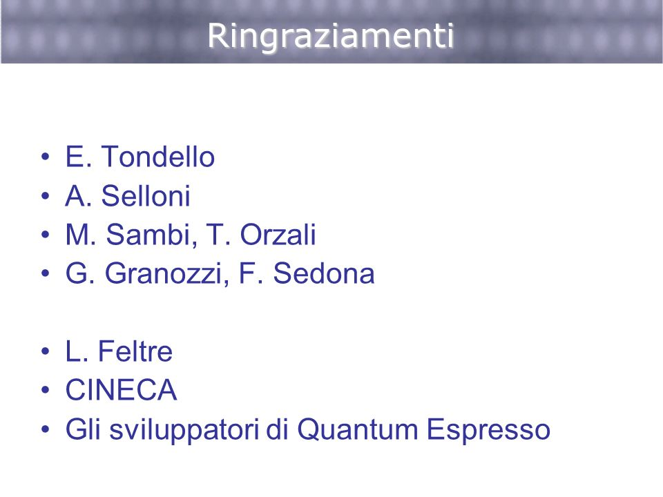Ringraziamenti E. Tondello A. Selloni M. Sambi, T. Orzali