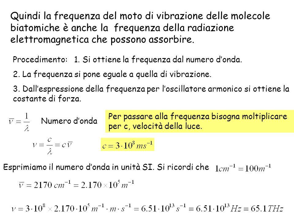 Quindi la frequenza del moto di vibrazione delle molecole biatomiche è anche la frequenza della radiazione elettromagnetica che possono assorbire.