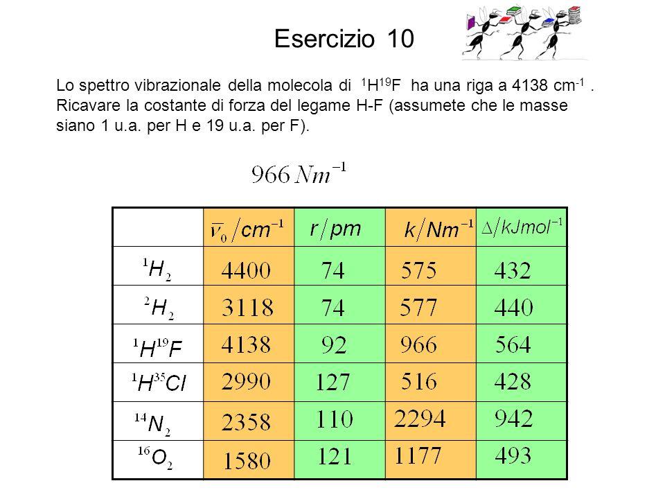 Esercizio 10 Lo spettro vibrazionale della molecola di 1H19F ha una riga a 4138 cm-1 .