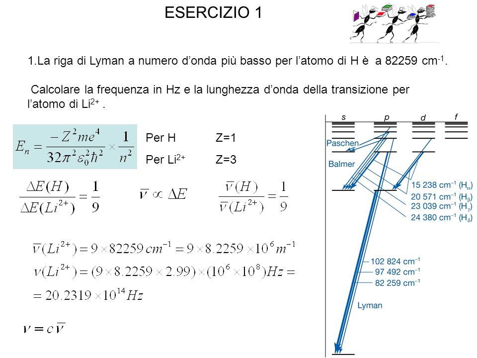 ESERCIZIO 1 La riga di Lyman a numero d'onda più basso per l'atomo di H è a 82259 cm-1.