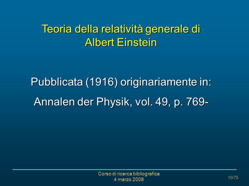 Teoria della relatività generale di Albert Einstein