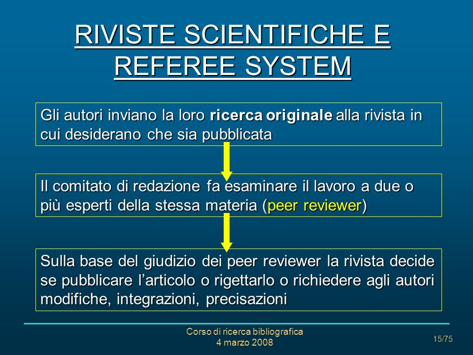 RIVISTE SCIENTIFICHE E REFEREE SYSTEM