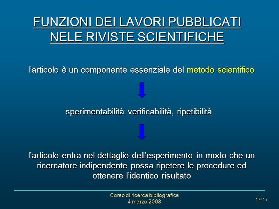 FUNZIONI DEI LAVORI PUBBLICATI NELE RIVISTE SCIENTIFICHE