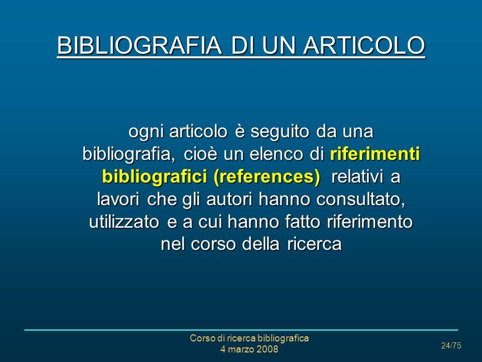 BIBLIOGRAFIA DI UN ARTICOLO