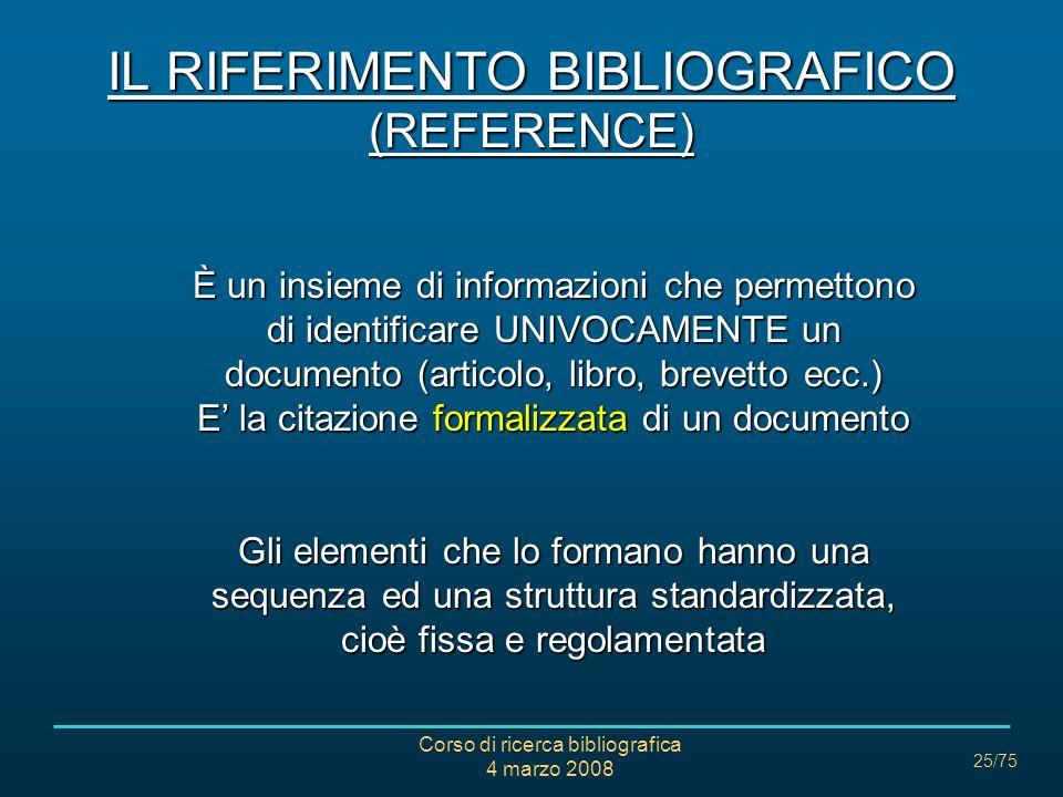 IL RIFERIMENTO BIBLIOGRAFICO (REFERENCE)