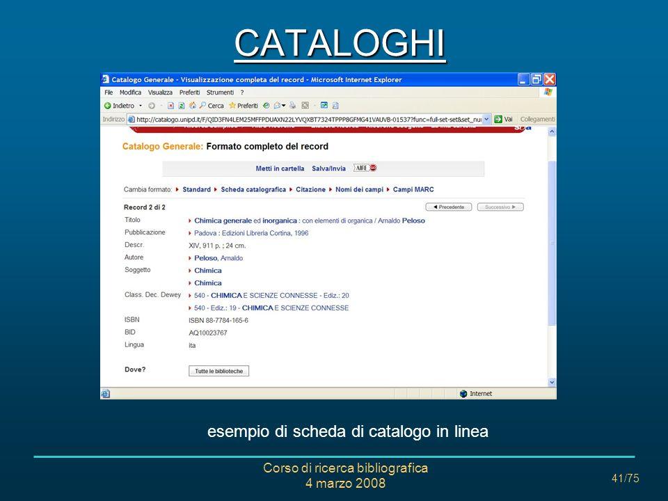 CATALOGHI esempio di scheda di catalogo in linea