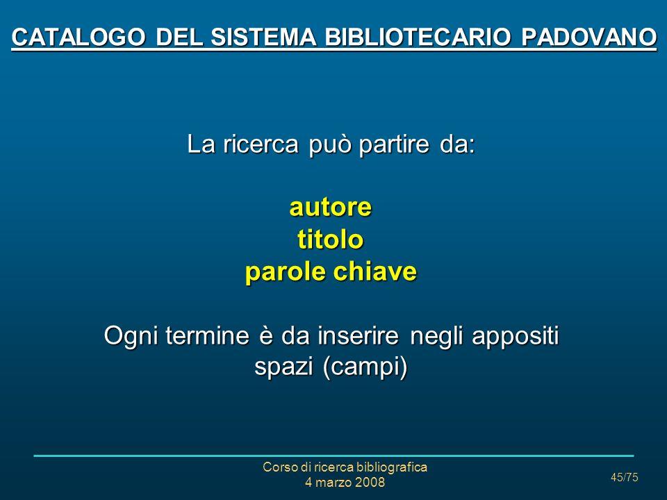 CATALOGO DEL SISTEMA BIBLIOTECARIO PADOVANO