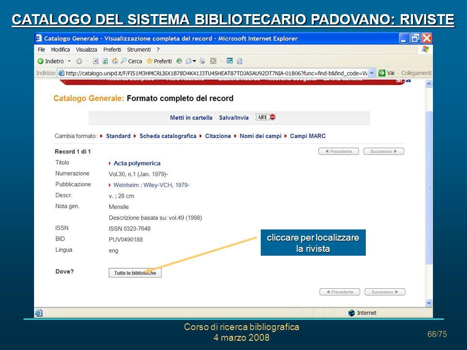 CATALOGO DEL SISTEMA BIBLIOTECARIO PADOVANO: RIVISTE