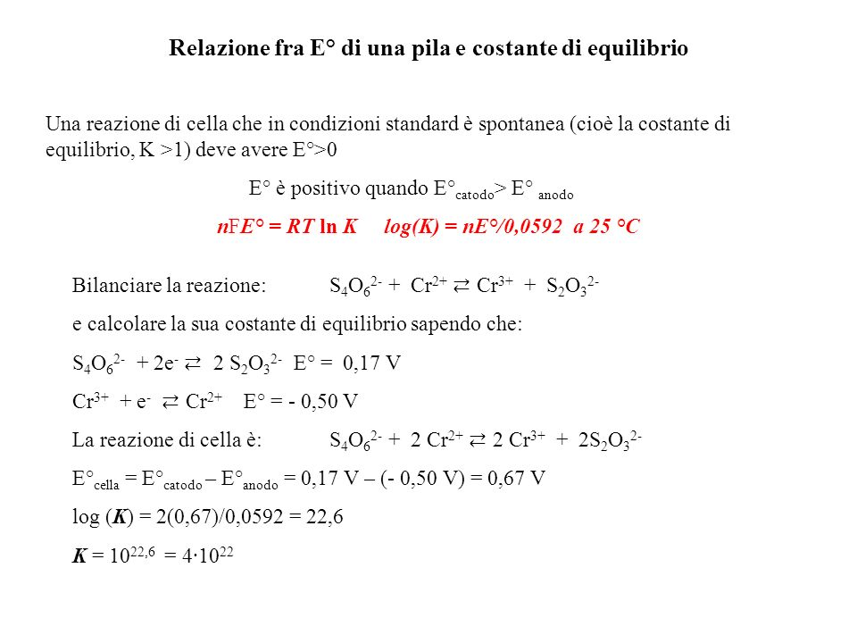 Relazione fra E° di una pila e costante di equilibrio