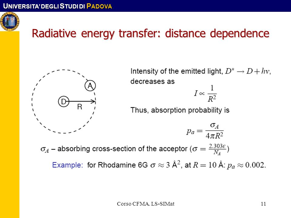 Radiative energy transfer: distance dependence
