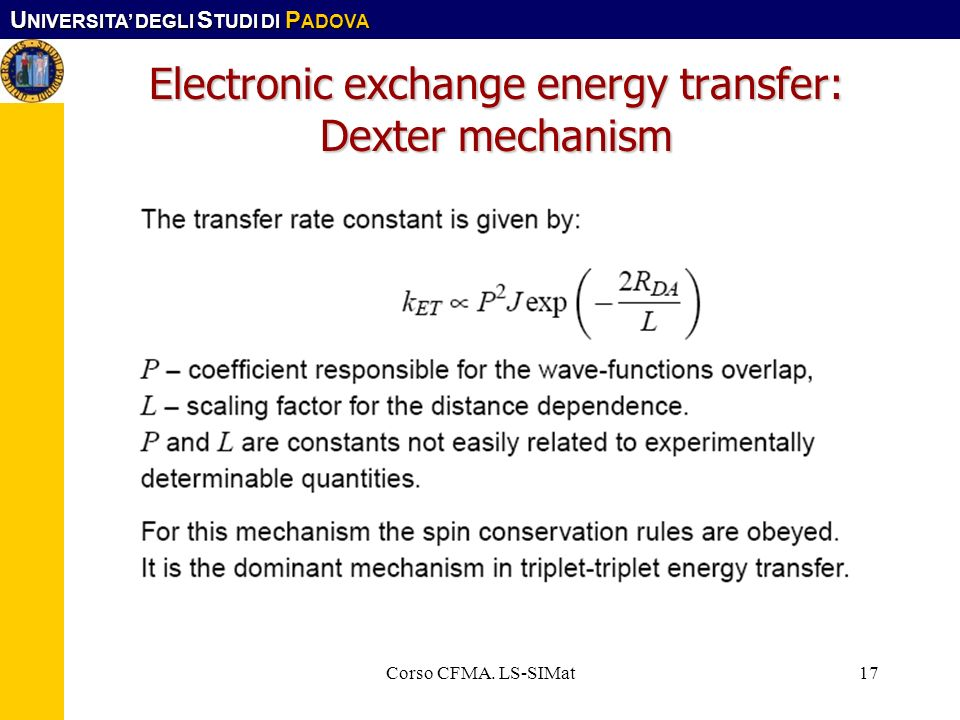 Electronic exchange energy transfer: Dexter mechanism