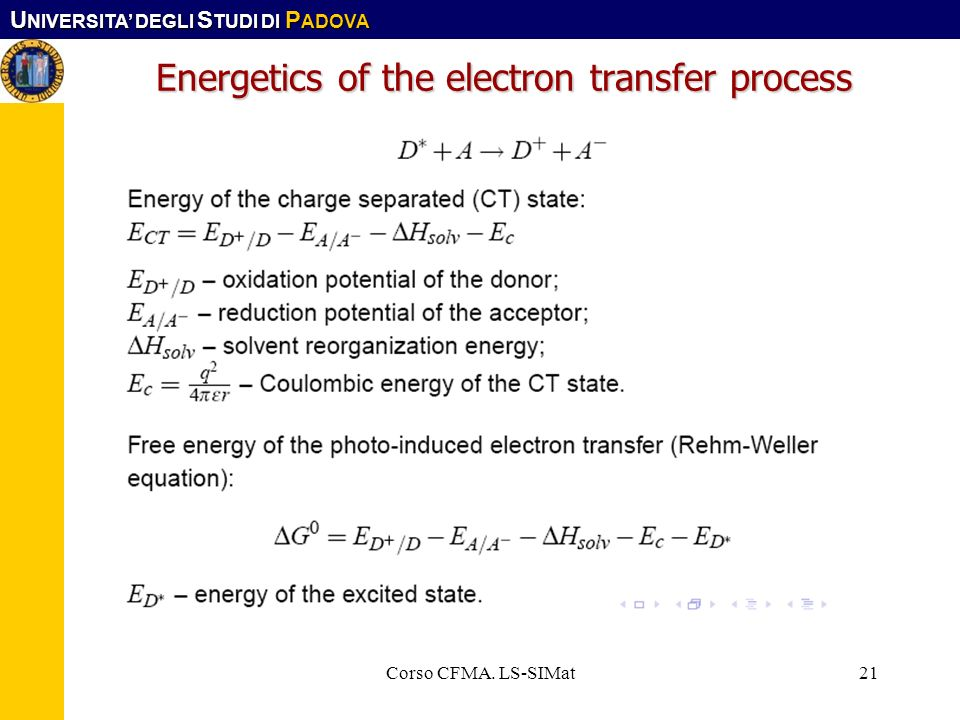 Energetics of the electron transfer process